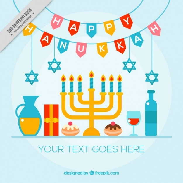 Colorful hanukkah background with candelabra and other items Free Vector