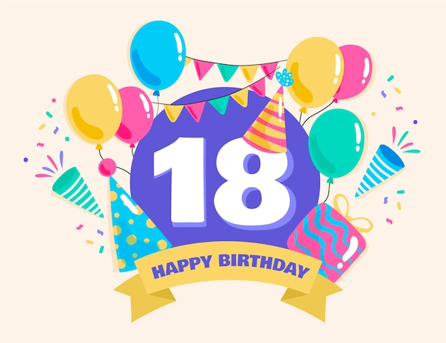 Colorful happy 18th birthday background Premium Vector