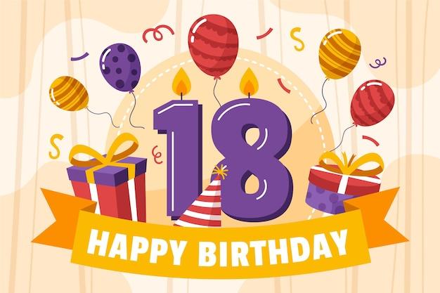 カラフルな幸せな18歳の誕生日の背景 無料ベクター