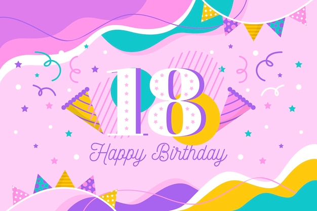 Colorful happy 18th birthday background Premium Vector