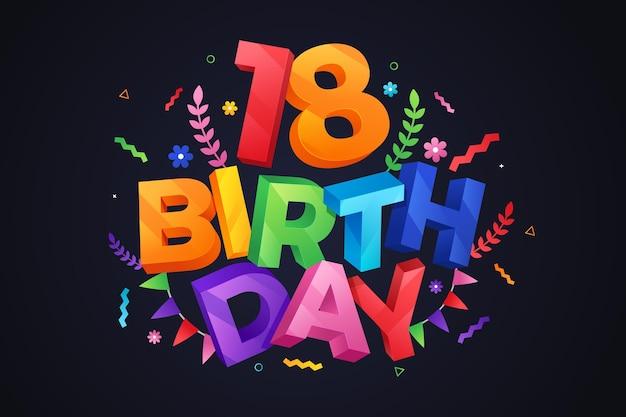 Sfondo colorato felice diciottesimo compleanno Vettore gratuito