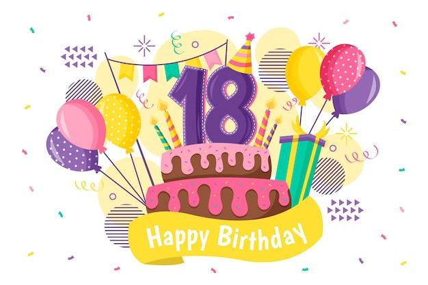 カラフルな幸せな18歳の誕生日の背景 Premiumベクター