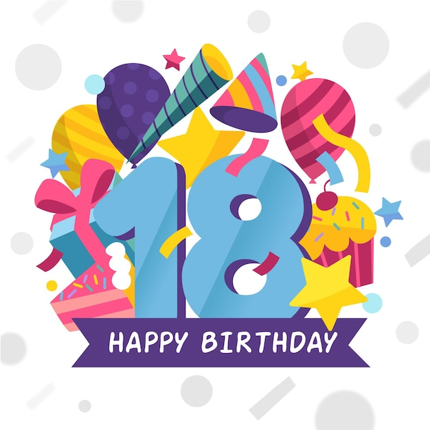 Colorful happy 18th birthday background Free Vector
