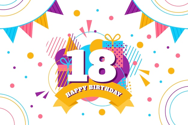 Colorful happy 18th birthday wallpaper Free Vector