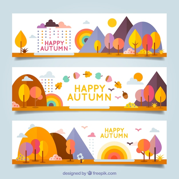 Colorful happy autumn banners Free Vector