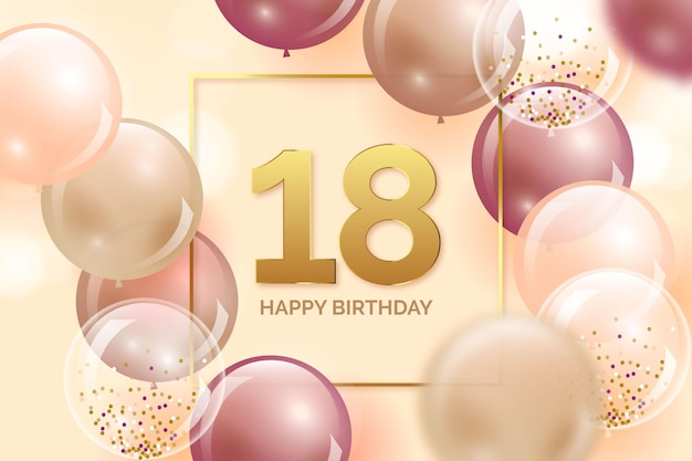Colorful happy birthday background with realistic balloons Free Vector