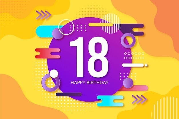 Colorful happy birthday background Free Vector
