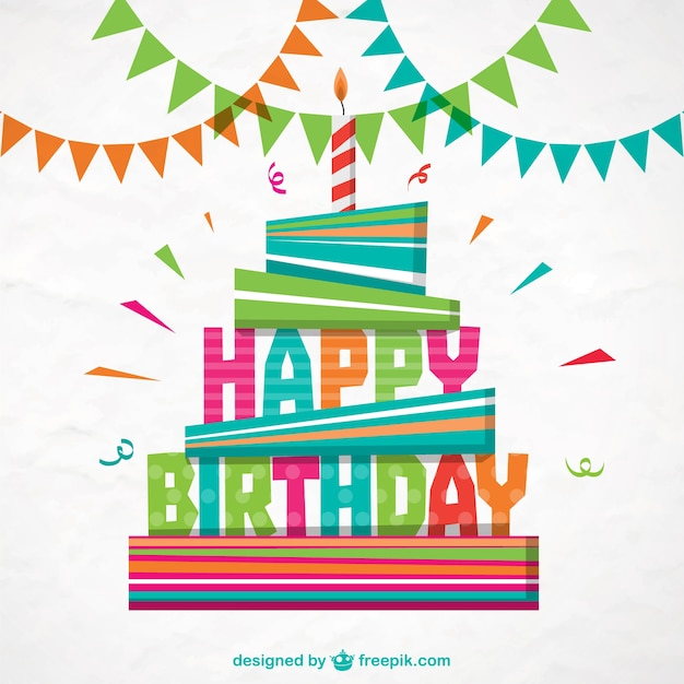 Colorful Happy Birthday Card Free Vector
