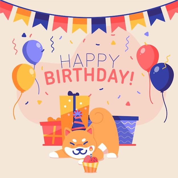 Красочная иллюстрация с днем рождения Premium векторы