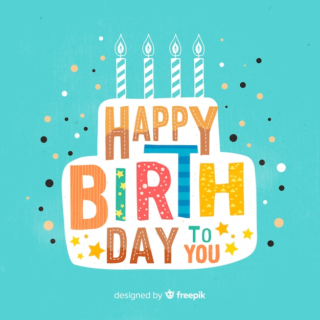 Colorful happy birthday lettering background Free Vector