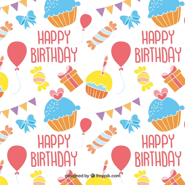 colorful happy birthday pattern vector free download
