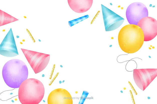 Colorful happy birthday watercolor background Free Vector