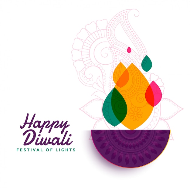 Colorful happy diwali festival diya lamp Free Vector