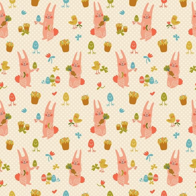 Красочные счастливой пасхи бесшовные модели с милыми розовыми кроликами цветы цыплят и яйца каракули векторные иллюстрации Бесплатные векторы
