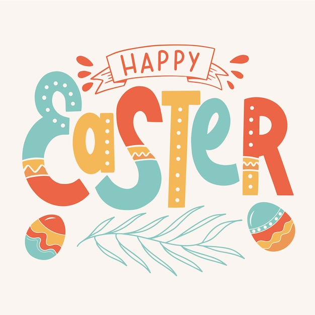 Colorful happy easter Free Vector
