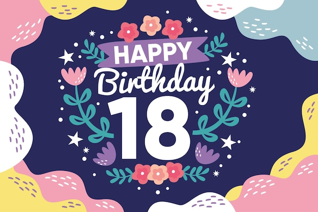 Colorful happy eighteenth birthday background Premium Vector
