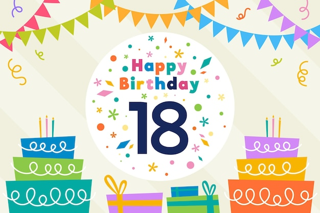 Colorful happy eighteenth birthday wallpaper Premium Vector