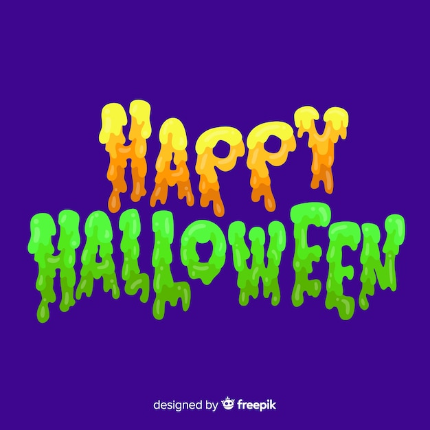 Colorful happy halloween lettering background Free Vector
