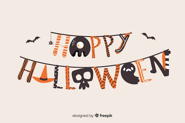 Colorful  happy halloween lettering Free Vector