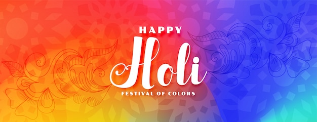 Colorful happy holi festival wishes banner Free Vector