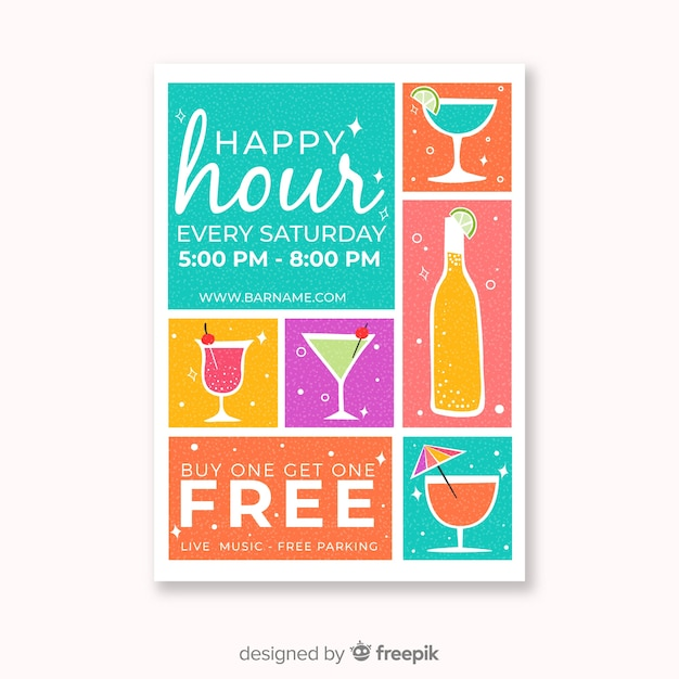 Colorful happy hour poster with cocktails Free Vector