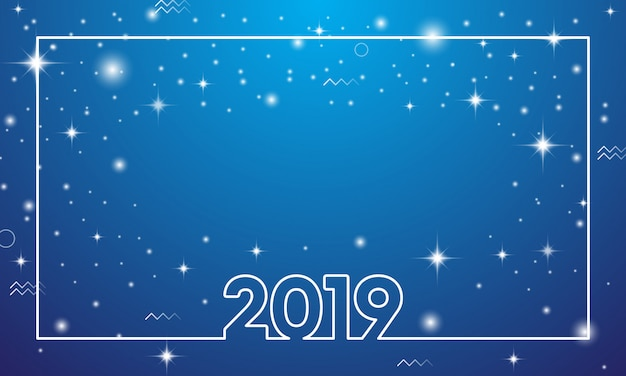 Colorful happy new year 2019 Premium Vector