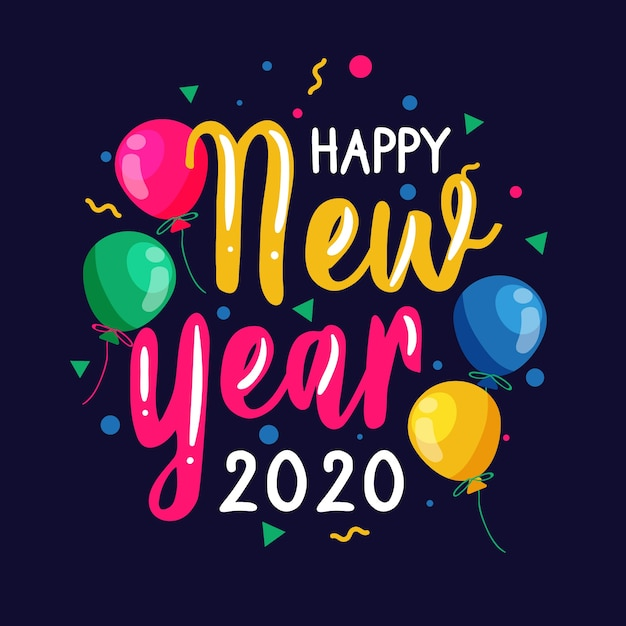Colorful happy new year 2020  lettering Free Vector
