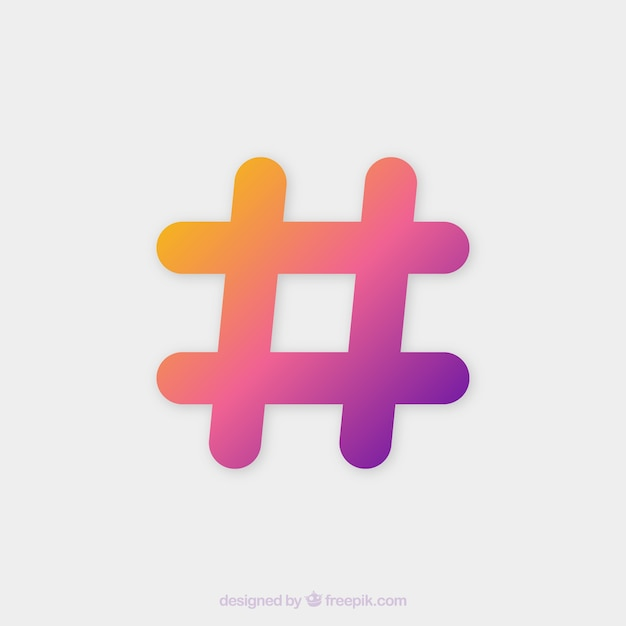 Colorful hashtag background Free Vector