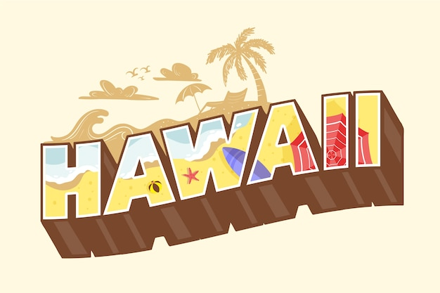 화려한 하와이 도시 글자 프리미엄 벡터