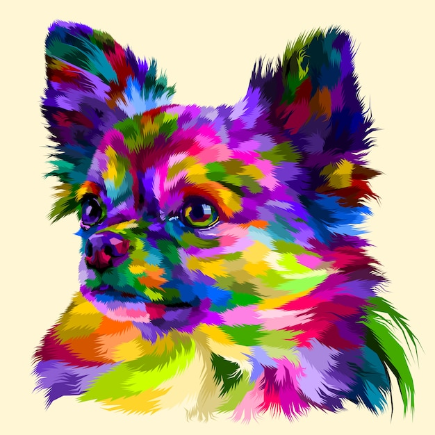 Colorful head chihuahua Premium Vector