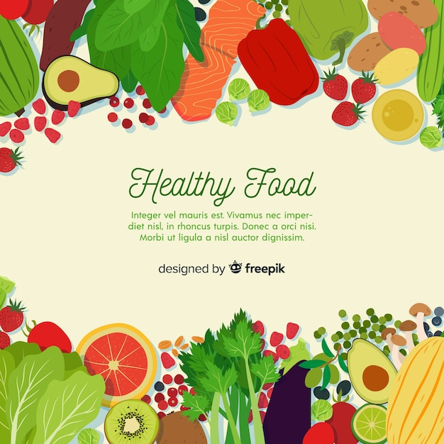 Colorful healthy food background template | Free Vector