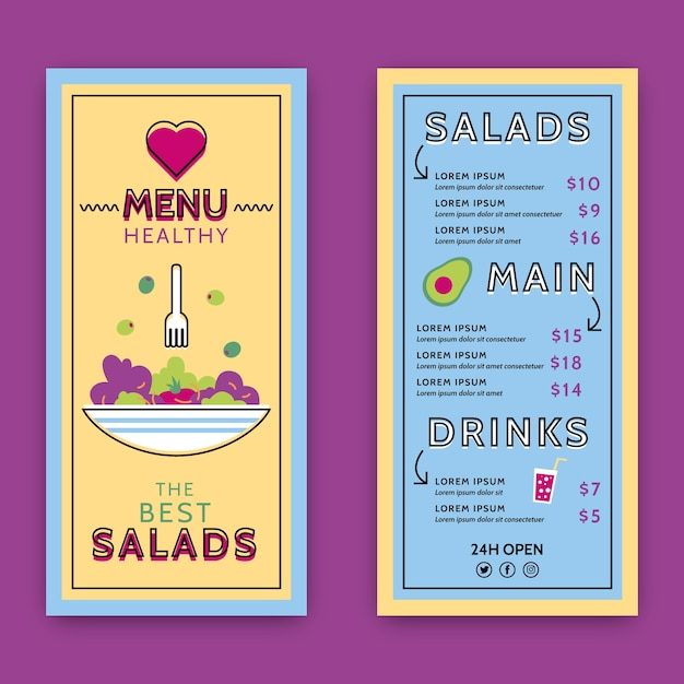 Colorful healthy food restaurant menu template Free Vector
