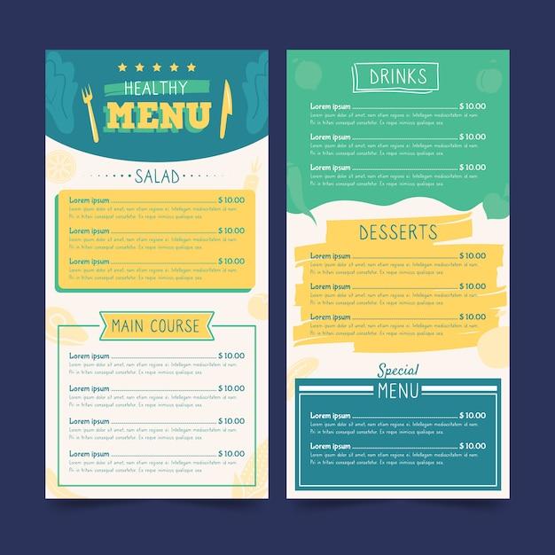 Colorful healthy food restaurant menu template Free Vector