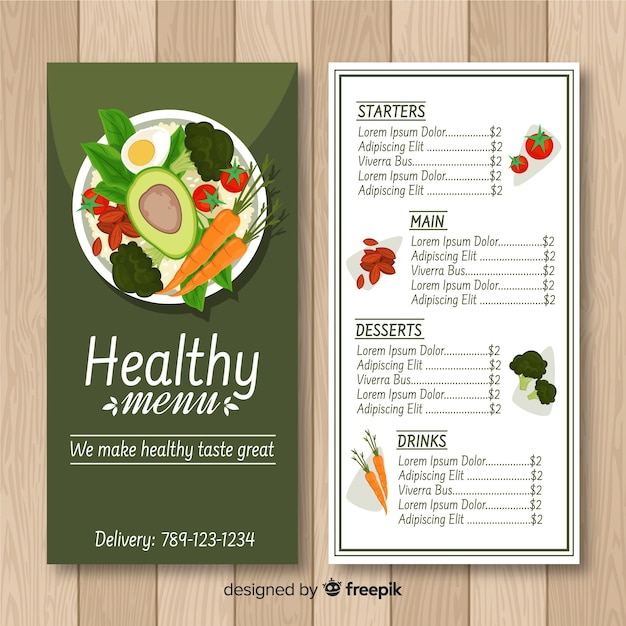 Colorful healthy menu template Free Vector