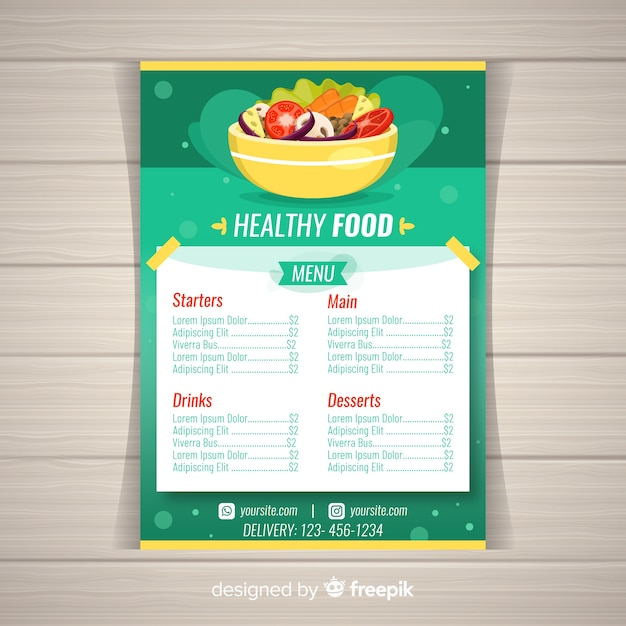 Colorful healthy menu template Free Vector