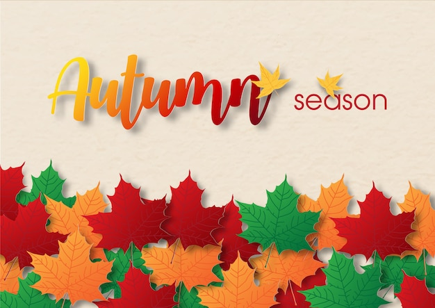 Colorful and heap of maple leaves with wording of season Premium Vector