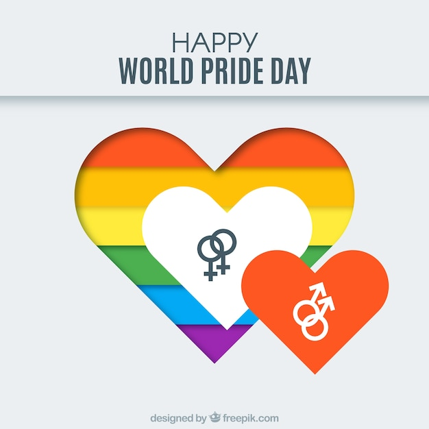 Colorful Heart Background With Gender Symbols Vector Free Download