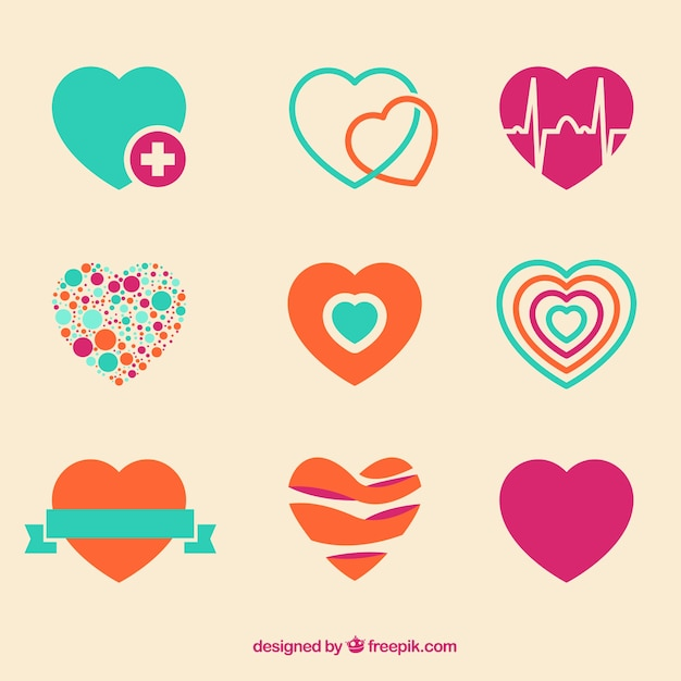 Colorful heart icons Free Vector