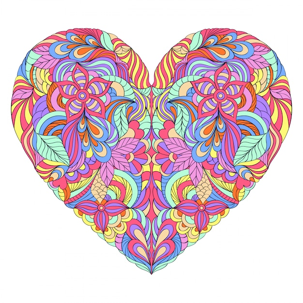 Colorful heart on white background Premium Vector