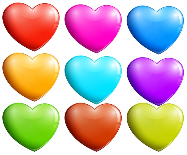 Colorful hearts Free Vector