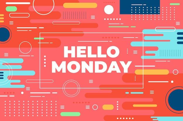 다채로운 안녕하세요 월요일 배경 무료 벡터