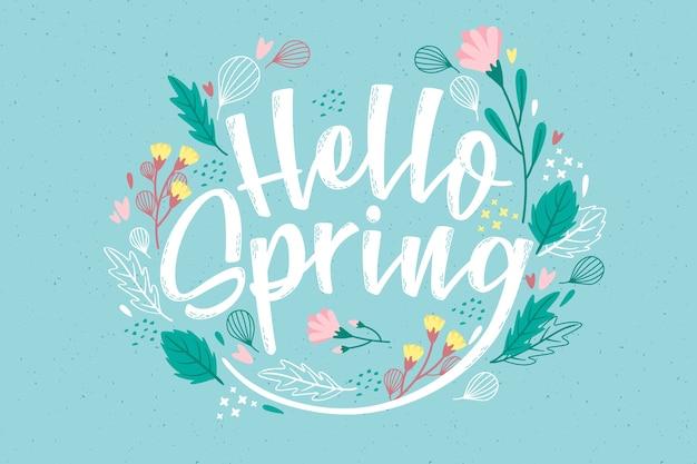 화려한 안녕하세요 봄 디자인 무료 벡터