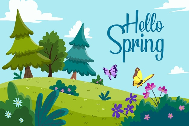 Colorful hello spring theme Free Vector