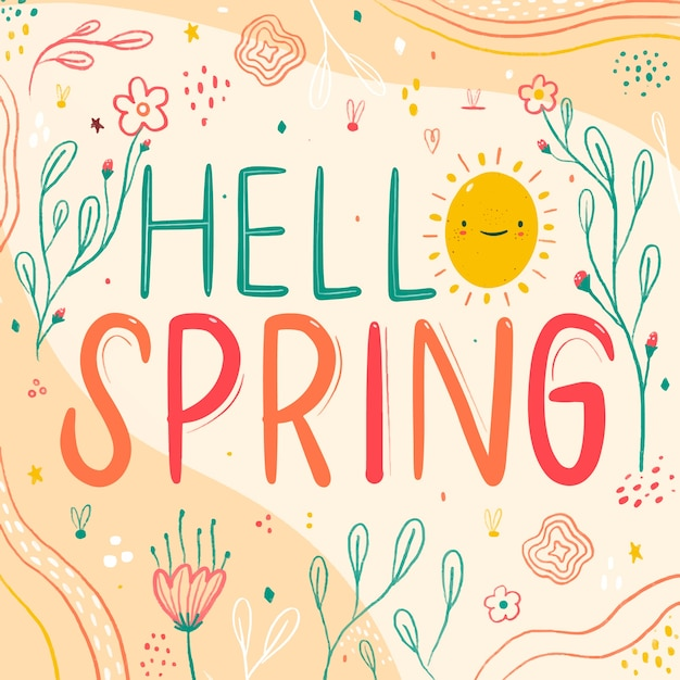 Colorful hello spring Free Vector
