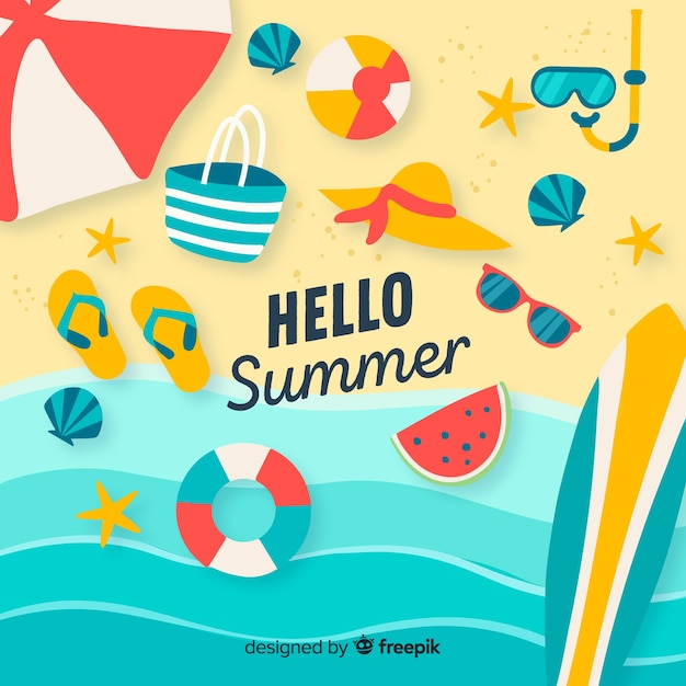 Colorful hello summer background Free Vector