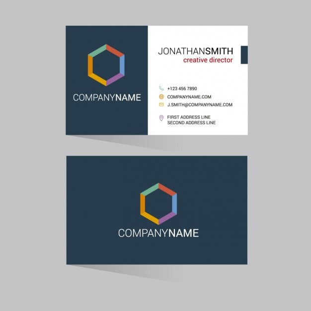 Colorful hexagon business card vector free download colorful hexagon business card free vector reheart Gallery