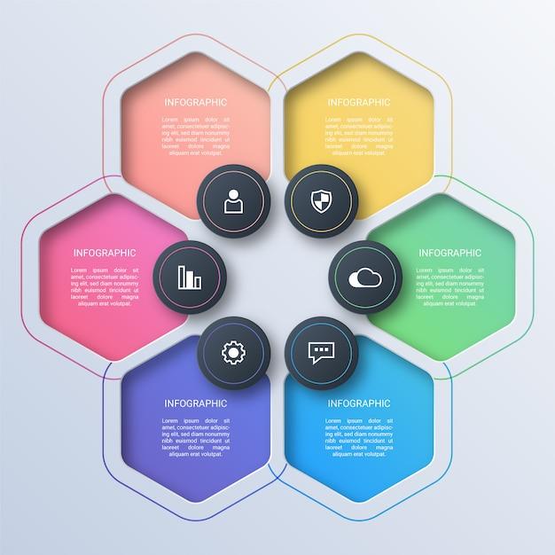 Colorful hexagon business infographic Premium Vector