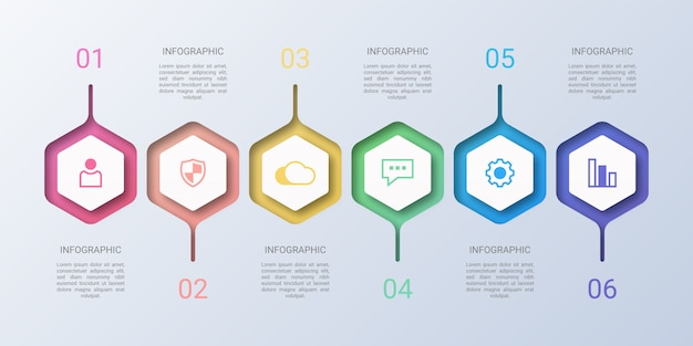 Colorful hexagon business infographic Premium Vector