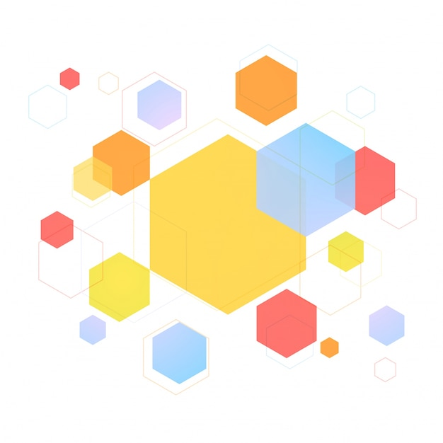 Colorful hexagon or hexagonal geometric elements, Modern abstract background or texture.