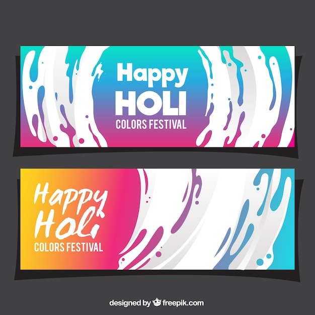 Colorful holi banners with white wavy forms